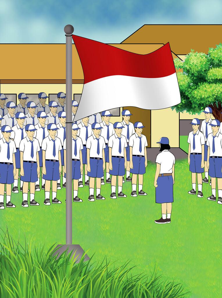 upacara bendera di sekolah
